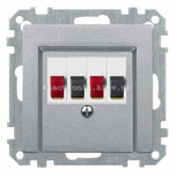 Аудио розетка двойная Schneider Electric Merten System M алюминий