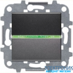 Выключатель 1-кл. универсальный с подсветкой ABВ Zenit антрацит