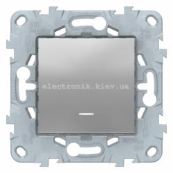 Выключатель/переключатель 1-клавишный с белой подсветкой, Алюминий, серия Unica New