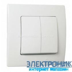 Makel Lilium Natural Kare Белый Выключатель 2-х клавишный