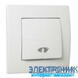 Makel Lilium Natural Kare Белый Выключатель 2-х клавишный с подсветкой