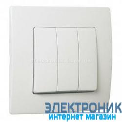 Makel Lilium Natural Kare Белый Выключатель 3-х клавишный (1-3)