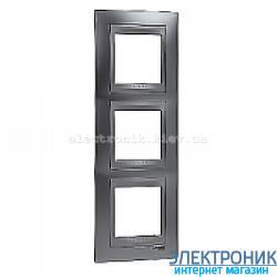 Рамка 3-я вертикальная Schneider Electric Unica Top Матовый хром/Алюминий