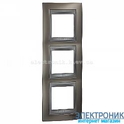 Рамка 3-я вертикальная Schneider Electric Unica Top Матовый никель/Алюминий