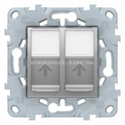 Розетка компьютерная 2-ая кат.5е, RJ-45 (интернет), Алюминий, серия Unica New