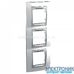 Рамка 3-я вертикальная Schneider Electric Unica Top Белоснежный/Алюминий