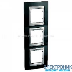 Рамка 3-я вертикальная Schneider Electric Unica Top Черный родий/Алюминий