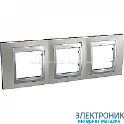 Рамка 3-я горизонтальная Schneider Electric Unica Top Матовый никель/Алюминий