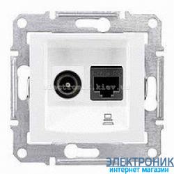 Розетка Schneider-Electric Sedna компьютерная кат. 5е + ТВ (телевизионная) белая