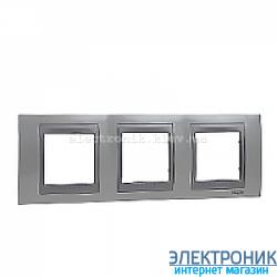 Рамка 3-я горизонтальная Schneider Electric Unica Top Белоснежный/Алюминий