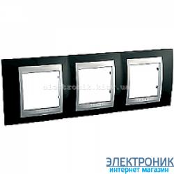 Рамка 3-я горизонтальная Schneider Electric Unica Top Черный родий/Алюминий