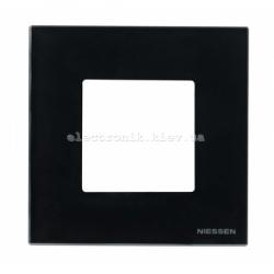 Рамка одинарная ABВ Zenit черное стекло