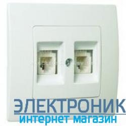 Makel Lilium Natural Kare Белый Розетка компьютер-телефон (RJ45 Cat5e-RJ11)