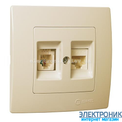 Makel Lilium Natural Kare КРЕМ Розетка компьютер-телефон (RJ45 Cat5e-RJ11)