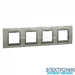 Рамка 4-я горизонтальная Schneider Electric Unica Top Белоснежный/Алюминий