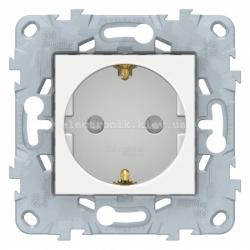 Розетка 1-ая электрическая , с заземлением и защитными шторками (безвинтовой зажим), Белый, серия Unica New