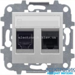 Розетка компьютерная двойная ABВ Zenit серебро