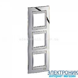 Рамка 3-я вертикальная Schneider Electric Unica Top Блестящий хром/Алюминий