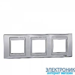 Рамка 3-я горизонтальная Schneider Electric Unica Top Блестящий хром/Алюминий