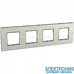 Рамка четырехместная Schneider (Шнайдер) Unica Quadro Metallized Титановый