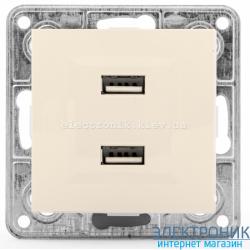 Розетка USB двойная 2*1А, 5V, DC Tesla LXL крем
