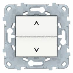 Выключатель для жалюзи (рольставней) кнопочный, Белый, серия Unica New