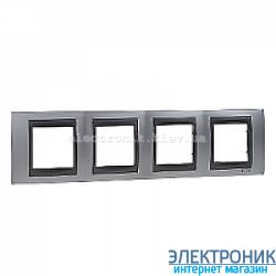 Рамка 4-я горизонтальная Schneider Electric Unica Top Матовый хром/Графит