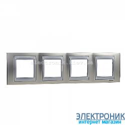 Рамка 4-я горизонтальная Schneider Electric Unica Top Матовый никель/Алюминий