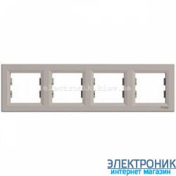 Рамка Schneider (Шнайдер) Asfora Plus 4-постовая горизонтальная бронза