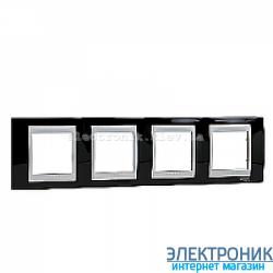 Рамка 4-я горизонтальная Schneider Electric Unica Top Черный родий/Алюминий