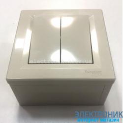 Переключатель накладной монтаж Schneider (Шнайдер) Asfora 2-клавишный проходной кремовый