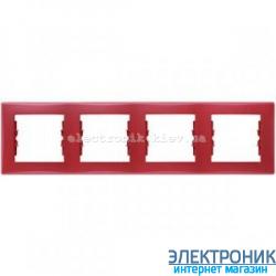 Рамка Schneider-Electric Sedna 4-поста горизонтальная красный