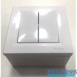 Переключатель накладной монтаж Schneider (Шнайдер) Asfora 2-клавишный проходной белый