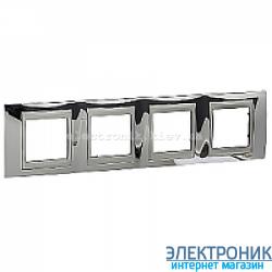 Рамка 4-я горизонтальная Schneider Electric Unica Top Блестящий хром/Алюминий