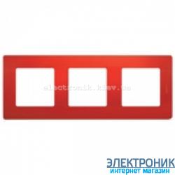 Рамка 3-х постовая Legrand Etika (красная)