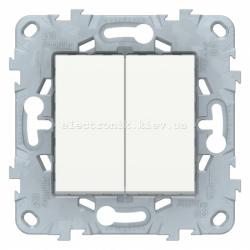 Выключатель 2-клавишный проходной (с двух мест), Белый, серия Unica New