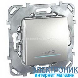 Schneider (Шнайдер) Unica алюминий диммер нажимной для любого типа нагрузки 20-350VA