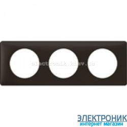Рамка 3-постовая Legrand Celiane, прямоугольная, 232х82мм (черная перкаль)