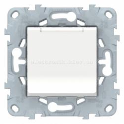 Розетка 1-ая электрическая , с заземлением и крышкой, защитными шторками, Белый, серия Unica New