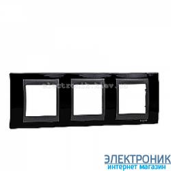 Рамка 3-я горизонтальная Schneider Electric Unica Top Черный родий/Графит