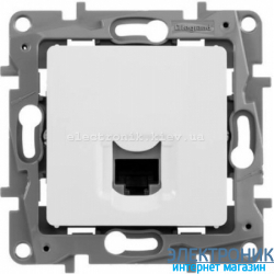 Розетка компьютерная RJ45 кат.5 UTP, 1-гнездо, белый - Legrand Etika