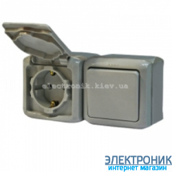 Выключатель + розетка влагозащищённая с заземлением 16A с защитными шторками винтовой зажим Legrand Quteo IP44 серый