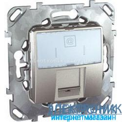 Schneider (Шнайдер) Unica алюминий компьютерная розетка 1хRJ45 кат. 5е
