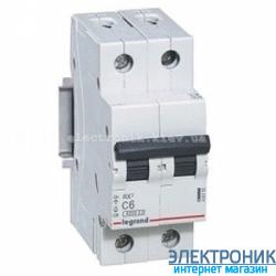 Автоматический выключатель Legrand RX3 - 2P 6А, C