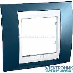 Рамка одноместная Schneider (Шнайдер) Unica Plus Голубой лед/Белый