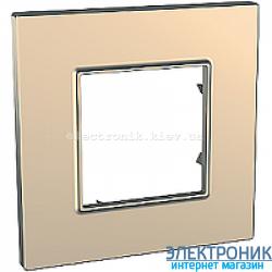 Рамка одноместная Schneider (Шнайдер) Unica Quadro Metallized Медный