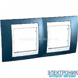 Рамка двухместная Schneider (Шнайдер) Unica Plus горизонтальная Голубой лед/Белый
