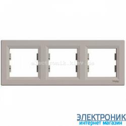 Рамка Schneider (Шнайдер) Asfora Plus 3-постовая горизонтальная бронза