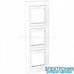 Рамка трехместная Schneider (Шнайдер) Unica Plus вертикальная Белый/Белый