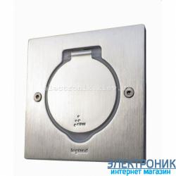 Лючок квадрат, 1 место на 2 модуля, нержавеющая сталь Legrand